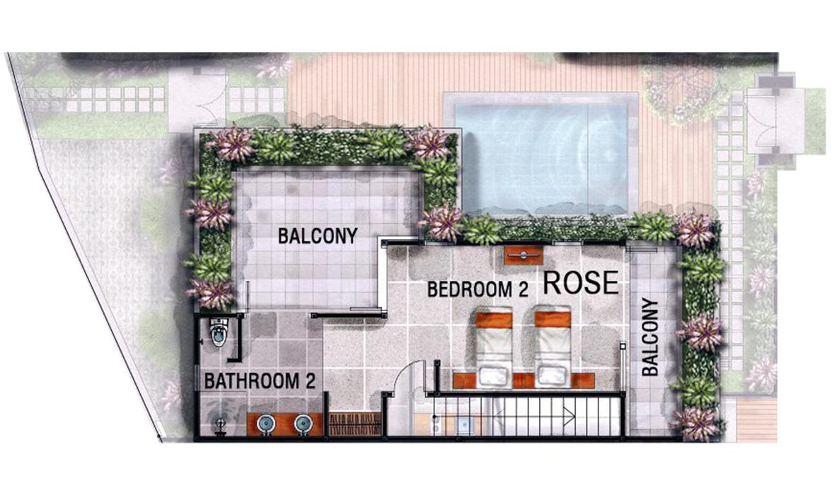 Blue Karma Oasis Seminyak - Deluxe Room - Floorplan Rose