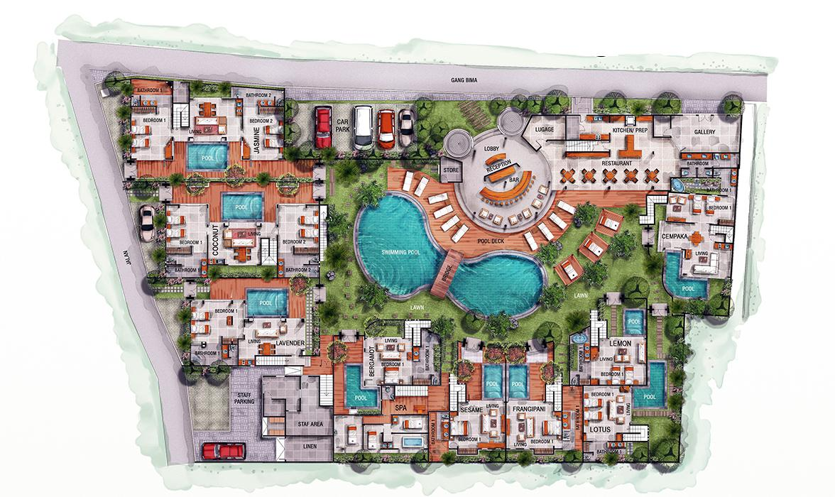 Blue Karma Oasis Seminyak - Floorplan - Ground floor